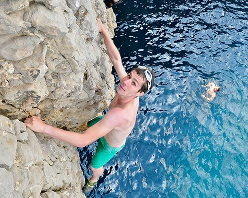 deep water soloing on the costa brava